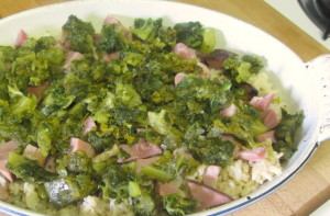 Layered rice, ham, and kale - www.inhabitedkitchen.com