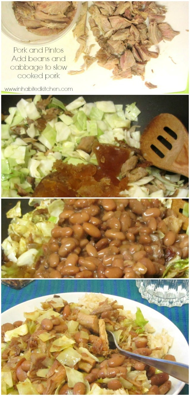 Pork and Pintos - Add beans and cabbage to slow cooked pork