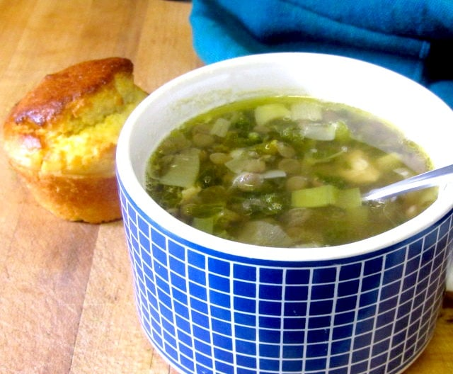 Lentil soup with leeks and chicken, and corn muffins - www.inhabitedkitchen.com