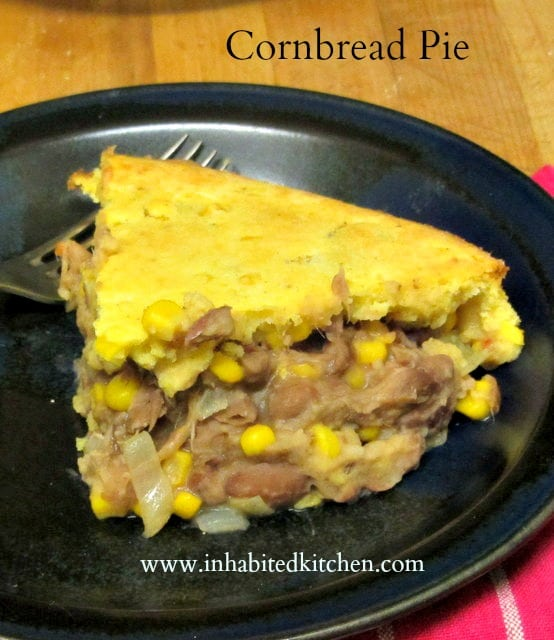 Use leftover meat, cooked beans, and muffin batter to create this hearty, savory cornbread pot pie. www.inhabitedkitchen.com