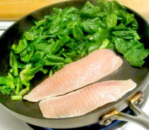 Fresh spinach and a filet of fish, ready in about 10 minutes - www.inhabitedkitchen.com