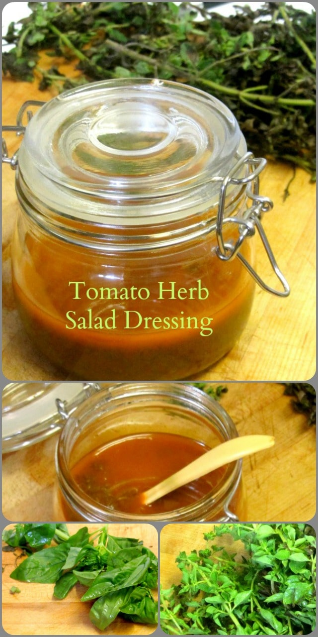 Add a little tomato paste and a lot of pureed herbs to create a hearty homemade salad dressing.