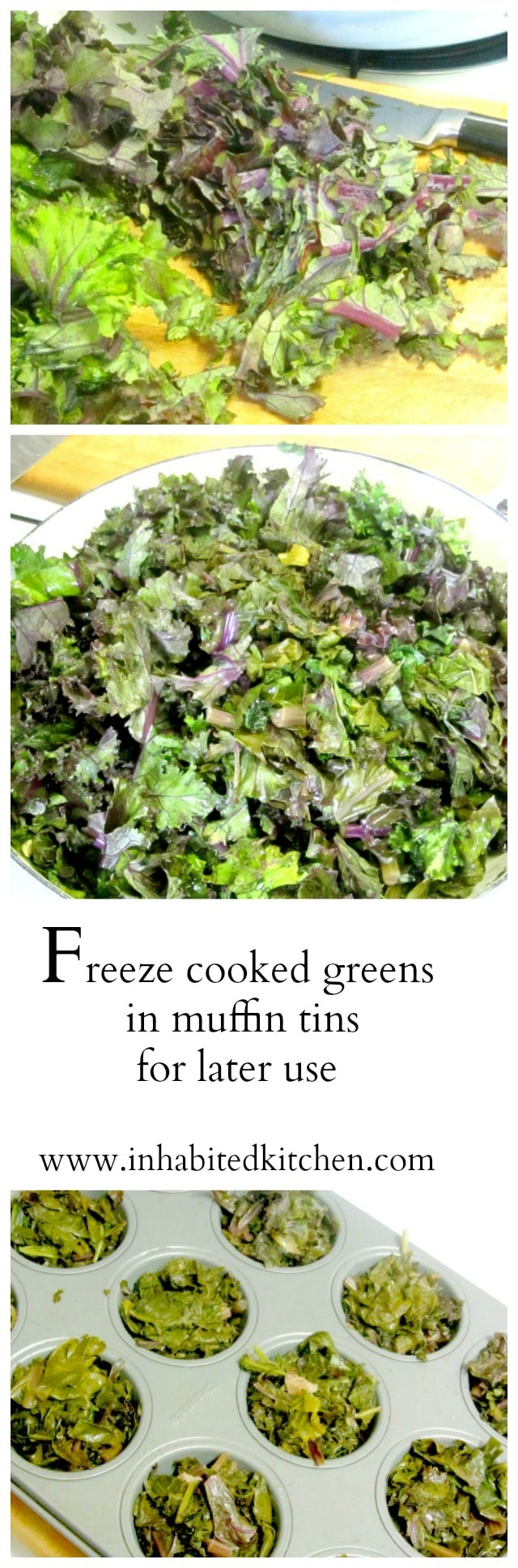 Freeze cooked greens - leftovers or cooked for the purpose - in muffin tins, for convenient single serving sized pieces. www.inhabitedkitchen.com