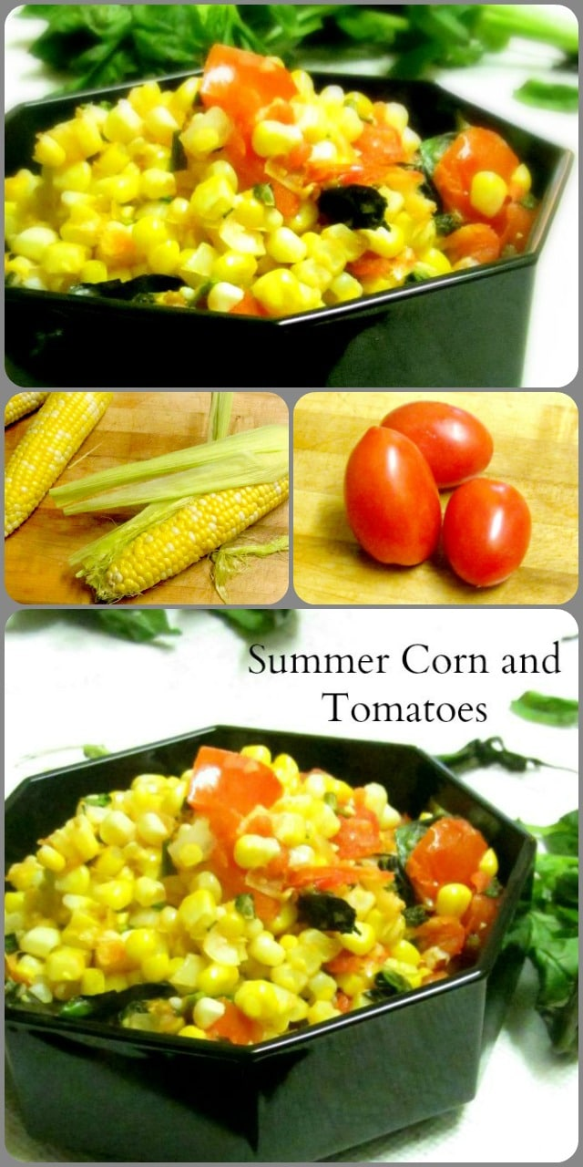 Very lightly saute fresh corn and tomatoes for a delicious and easy vegetable recipe that tastes like summer.
