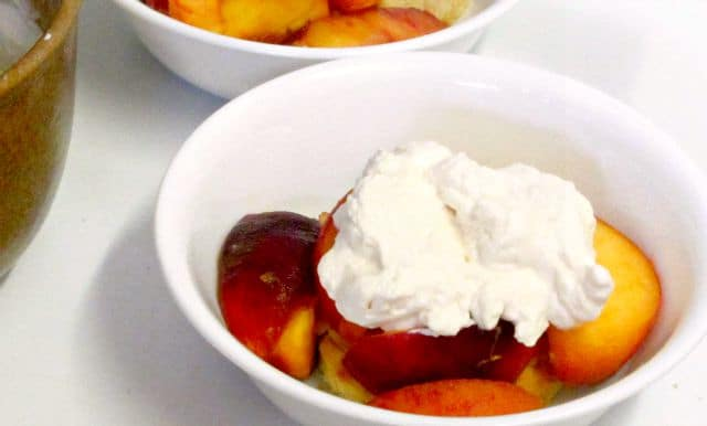 Luscious, rich, sweet without added sugar, peach shortcake - and gluten free, as well - a wonderful summer treat! www.inhabitedkitchen.com