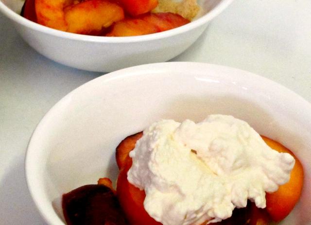 Luscious, rich, sweet without added sugar, peach shortcake - a wonderful summer treat! www.inhabitedkitchen.com