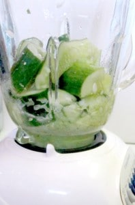 Cool green cucumber aspic - an unusual molded salad made of fresh vegetables suspended in a cucumber gel. www.inhabitedkitchen.com