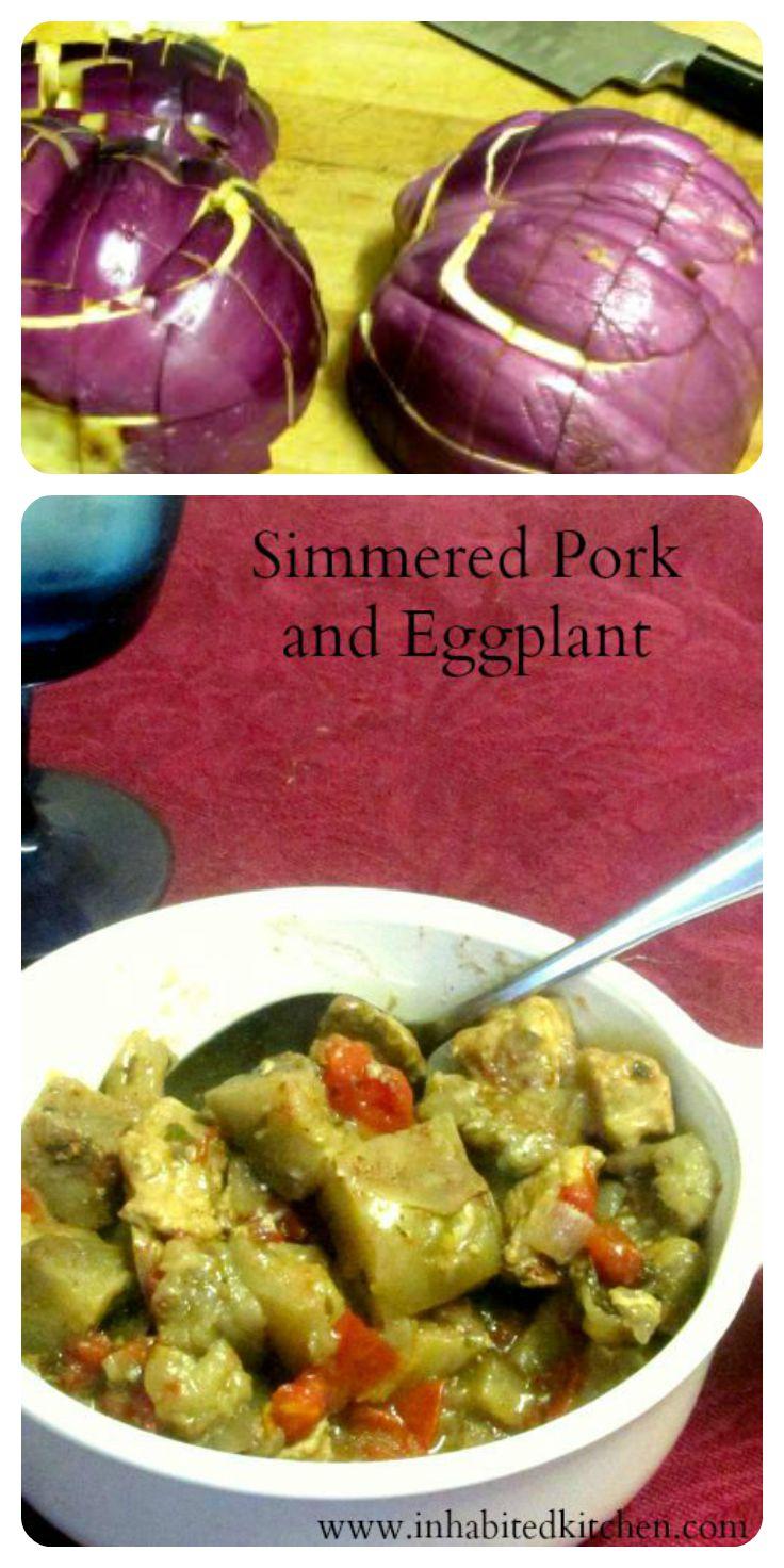 Simmered pork and eggplant, with Greek inspired seasoning - www.inhabitedkitchen.com