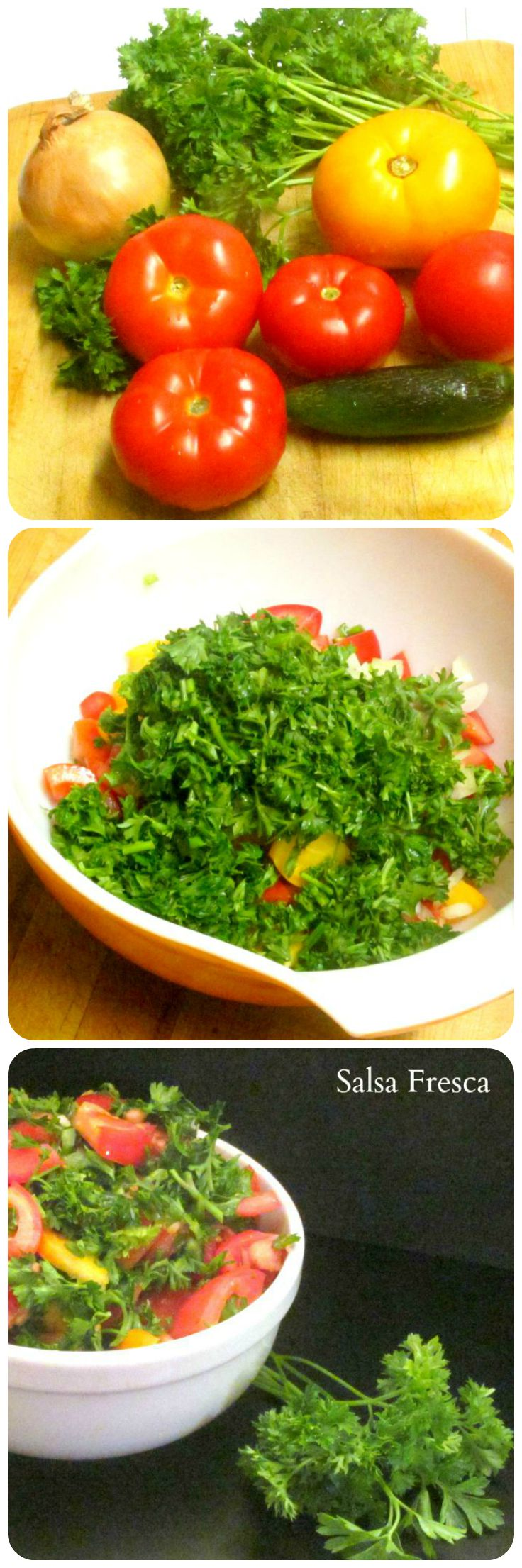 Salsa Fresca (without cilantro) A simple sauce that comes together quickly from raw vegetables to add interest to the plainest meal. www.inhabitedkitchen.com
