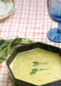 Creamy corn and leek soup - gluten free and vegan, and perfect for the first cool nights at the end of summer! www.inhabitedkitchen.com