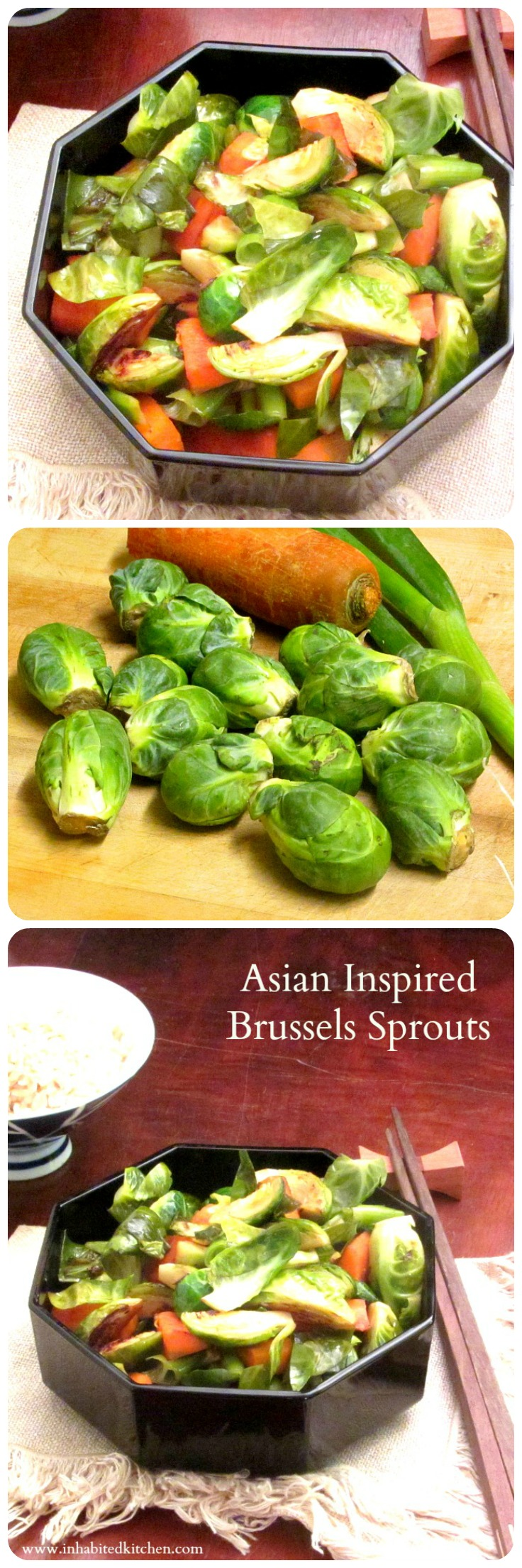 Asian Inspired Brussels Sprouts - Crisp vegetables with a subtle seasoning elevate this classic Fall vegetable to the center of a meal.