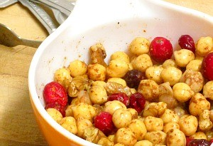 Use cranberries and chickpeas for a stuffed squash that is both simple and elegant. Great as part of a vegan meal!