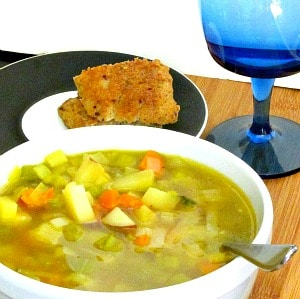 Take an assortment of aromatic vegetables, add potatoes and broth, and make a hearty vegetable soup!