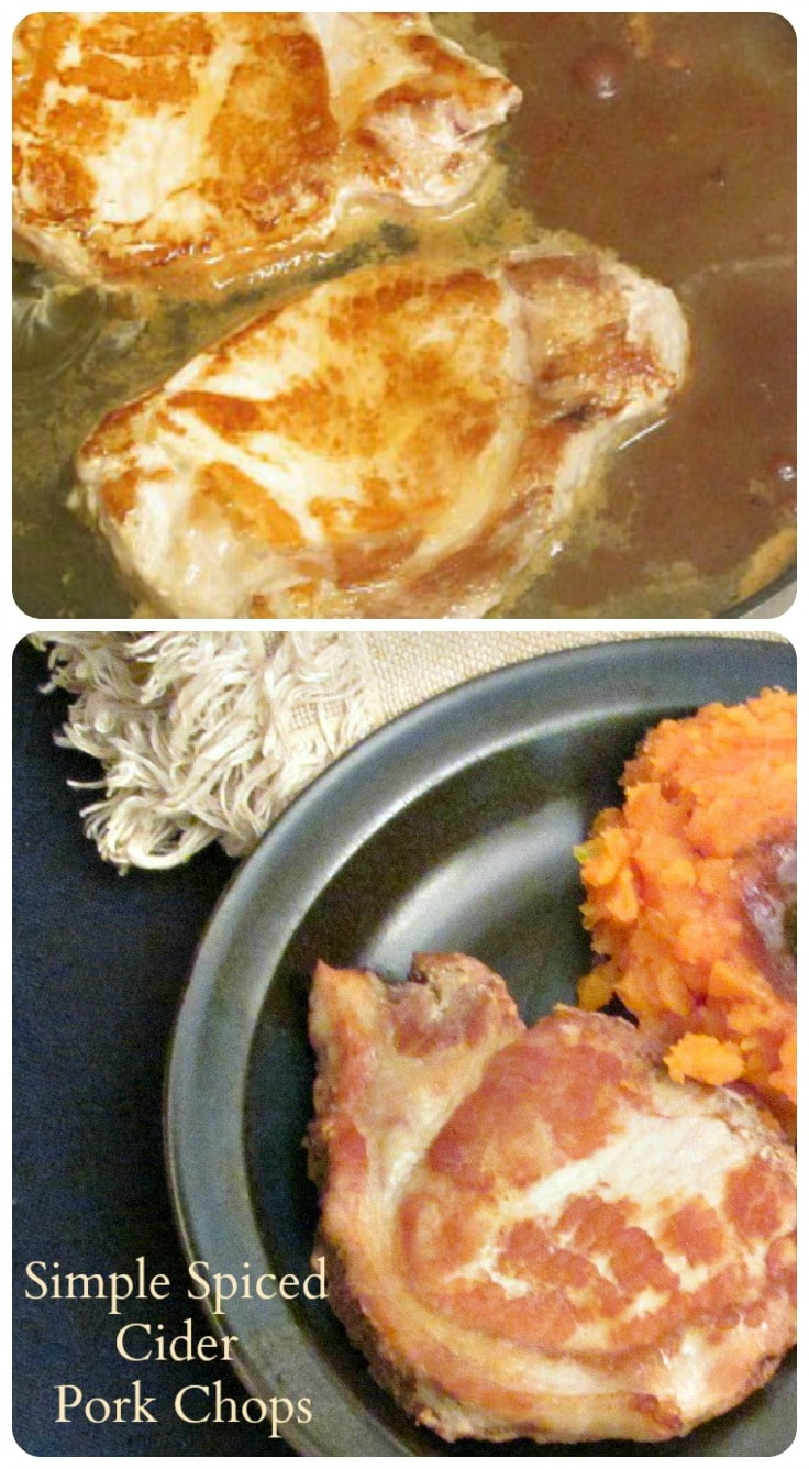 Simple Spiced Cider Pork Chops - a quick and easy, but delicious and interesting, weeknight dinner.