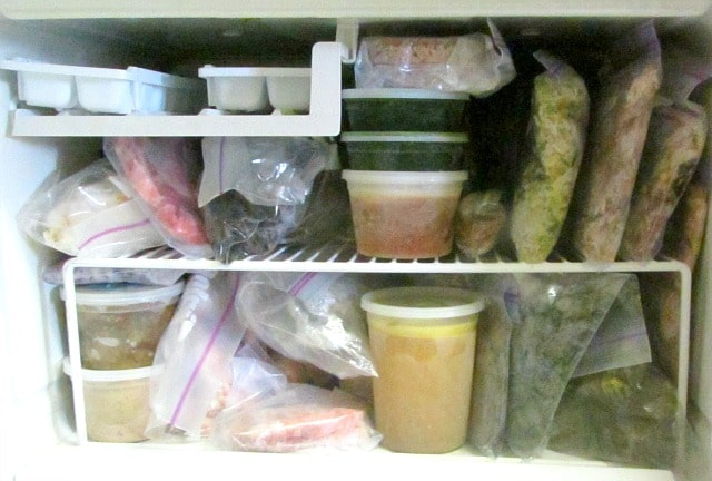 Freezer Planning - a freezer stocked with vegetables and meat (cooked or not) makes meal preparation easy.