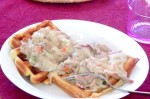 Make turkey in cream sauce from the Thanksgiving leftovers, and serve it over waffles (homemade or not) for a fast and easy meal.