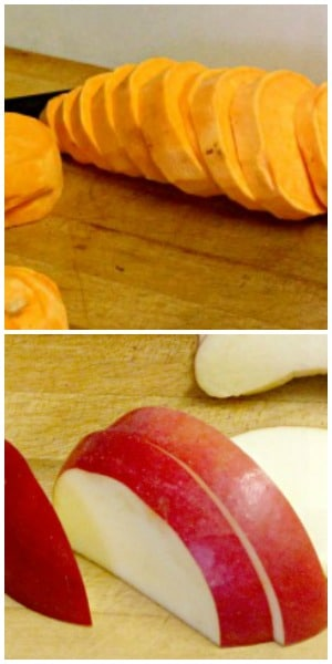 Bake sweet potatoes with apples, for an attractive, elegant, slightly sweet presentation.