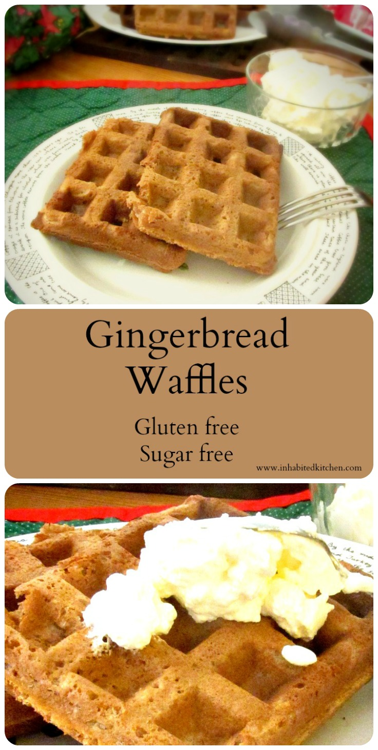 Gingerbread waffles - gluten free, sugar free, but light and crisp, with the warm aroma of the gingerbread spice blend.