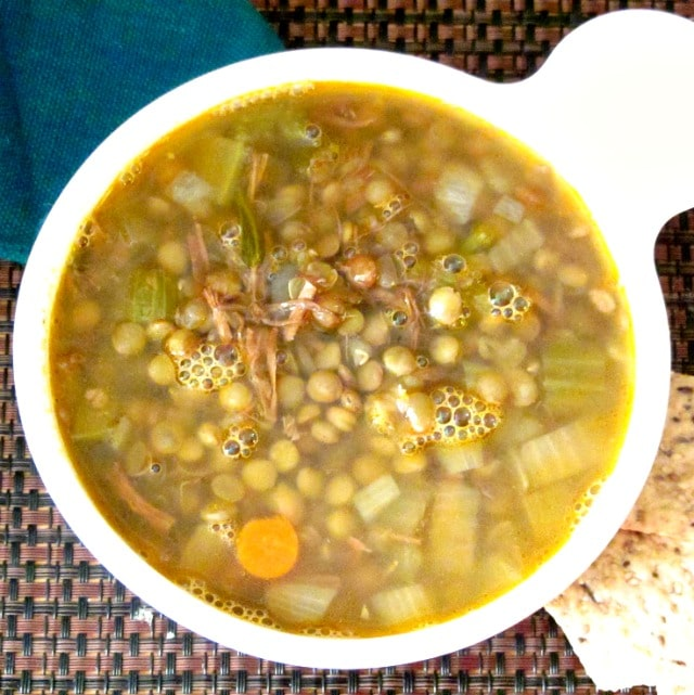 Lentil Soup with Pulled Pork - use already seasoned cooked pork to add flavor to a simple lentil soup. Great way to make a week of lunches from leftovers!