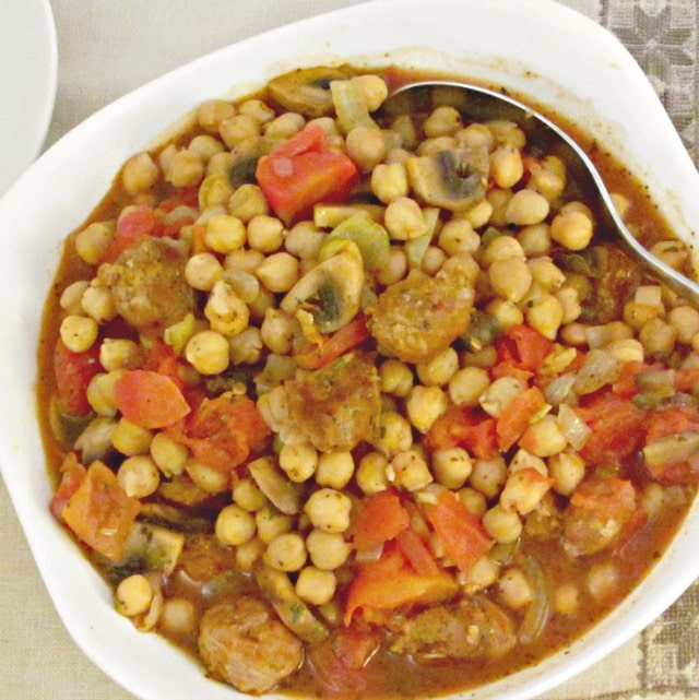 Mix Italian sausage and ceci - chickpeas - for a flavorful stew.