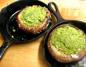 Parsley Stuffed Portobellos - a gluten free stuffed mushroom. Easy and delicious, perfect for entertaining!