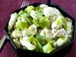 Over wintered leeks with chicken - some of the first fresh vegetables of Spring, served with mild white chicken for a quick and delightful dinner!