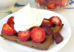 Gluten free, sugar free chocolate waffles with strawberries and whipped cream - dessert, brunch, whenever you'd like a treat!