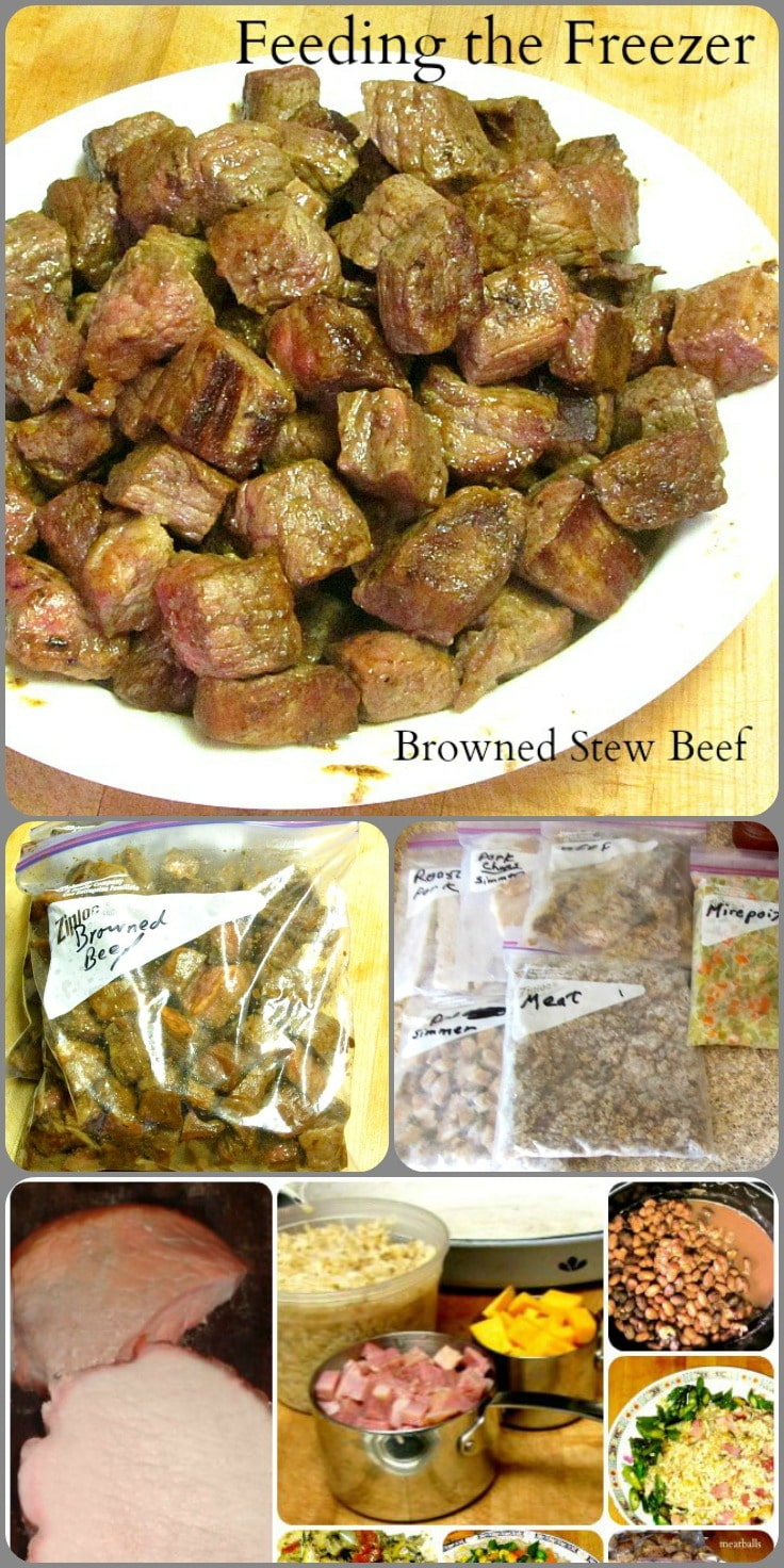 Brown several pounds of beef cubes and then freeze them. They are ready to drop right into a slow cooker without fuss, but with the delicious flavor.