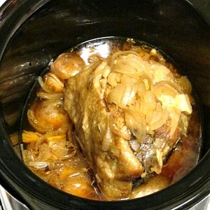 Pot Roast with mushroom broth - simmered in a slow cooker for an easy, richly flavored meal. Thicken the broth if you want gravy!