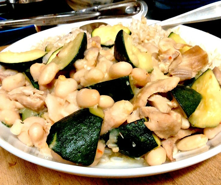 What's for dinner? Planning for meals means I have cooked navy beans and chicken - add vegetables, season lightly, it's a tasty meal!