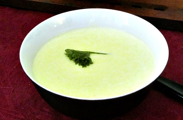 A frugal Cream of Asparagus Soup, made with the woody ends of the spears that are usually discarded. Delicate, elegant, and thrifty!