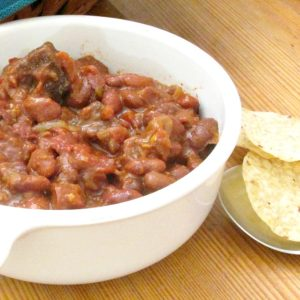 Protein Flip - a term for moving meat and other animal protein from the center of our attention to the side, as in this recipe for Red Beans with Pork.