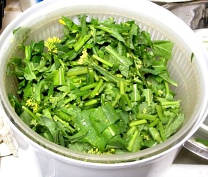 Broccoli rabe, and cooking greens - the basic method I use to wash and prepare a wide variety of leafy green vegetables.