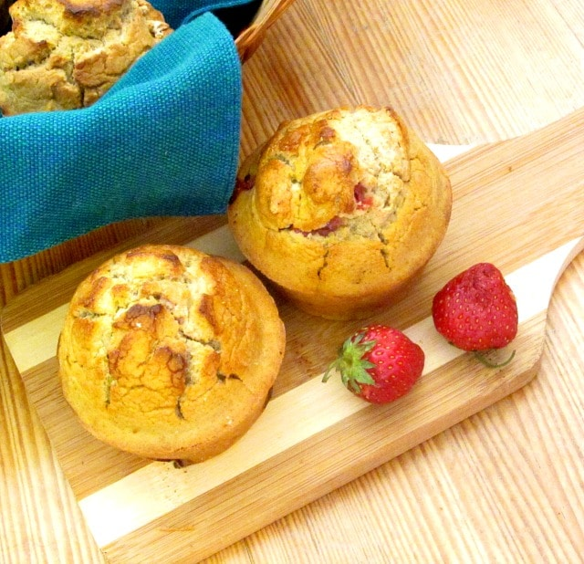 These Gluten Free Strawberry Muffins are also whole grain - no added starch or gums. Use the base recipe all summer with other fruit!