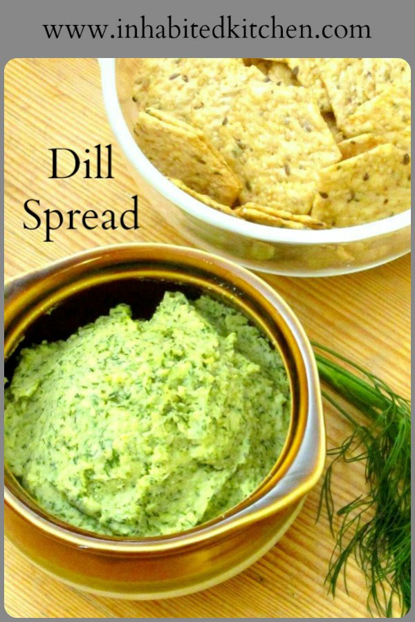 A dill bean spread - not really hummus, though used in many of the same ways - to serve on crackers alongside a salad or soup, or as an appetizer. #spread #hummus #dill