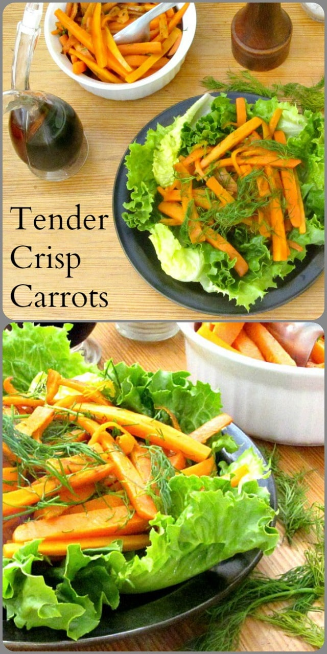Lightly cooked, tender crisp carrots, marinated for flavor, perfect to add to salads, or alone as a side dish!