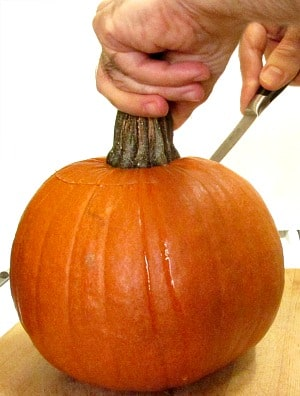 A vegan Stuffed Pumpkin gives everyone an impressive dish to serve at a Thanksgiving dinner.