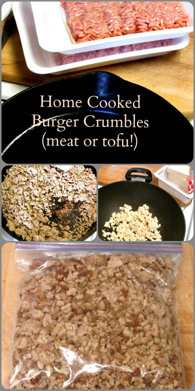 Precook meat or veggie crumbles to keep in the freezer for easy meals on a busy day!
