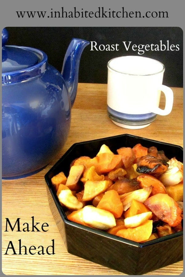 Roast a big pan of vegetables for later use - makes meals easy!