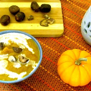 Rich and sweet, Chestnut Soup made with butternut squash is gluten free and vegan (with optional dairy garnish.) Luxurious first course for an elegant meal!