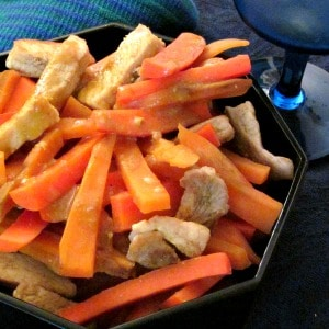 Three Orange Pork - two orange colored vegetables, and a little orange juice come together with tender pork loin in a fast and easy one pot dinner!