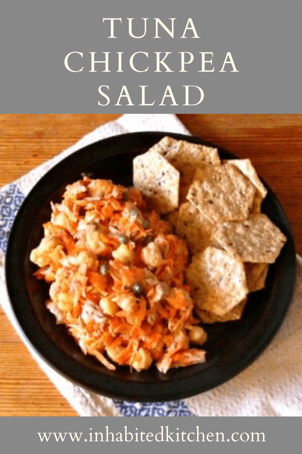 Tuna Chickpea Salad with Carrots, on a plate with crackers
