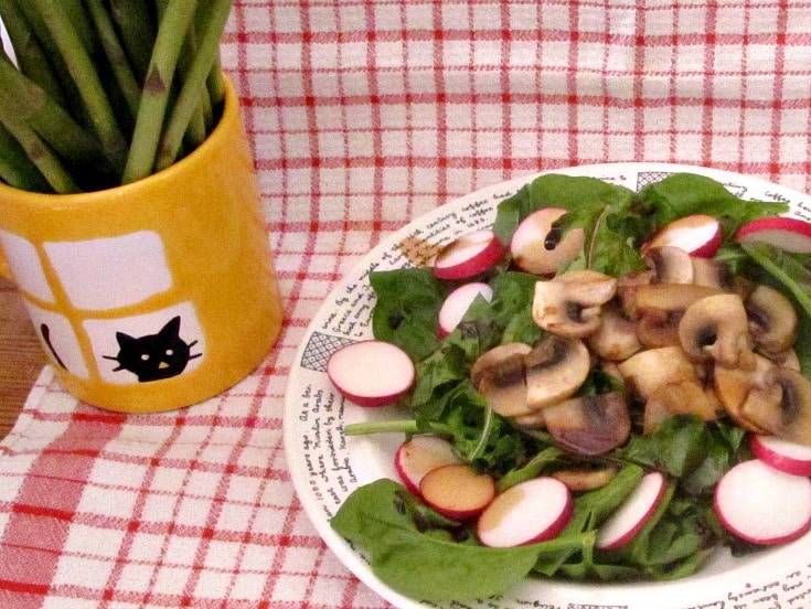 Use tender spinach and other spring greens in a Wilted Spinach Mushroom Salad and enjoy the contrasts of temperature, as well as texture and flavor!