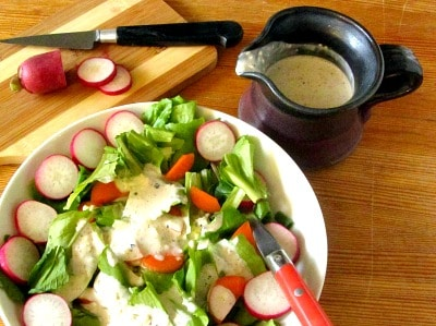 Pepper Parmesan Salad Dressing adds a punch of flavor to a simple green salad. It's easy to make, with ingredients you may already have on hand.