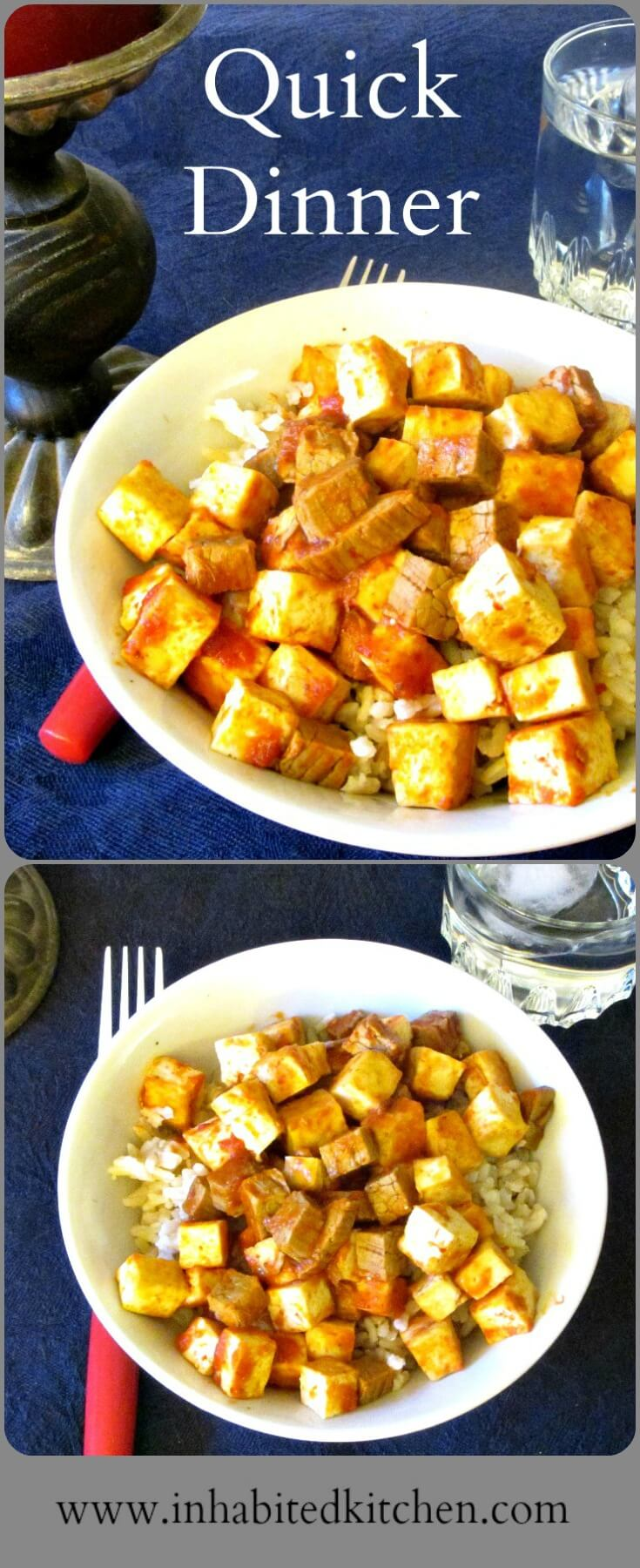 Combine leftover pot roast with tofu with seasoning to make a quick dinner that doesn't taste at all like leftovers!