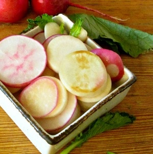 Who knew that cooked radishes taste good? Saute them together with delicate young turnips for a fast and easy, and delicious, vegetable side!