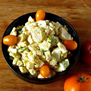 Potato Vegetable Salad? Vegetable Potato Salad? And I didn't even mention the eggs... Creamy potatoes and eggs, crunchy vegetables, and lots of flavor.