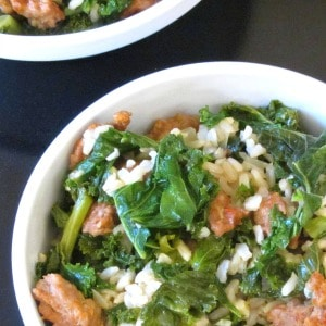 Sausage and Kale Rice Bowl