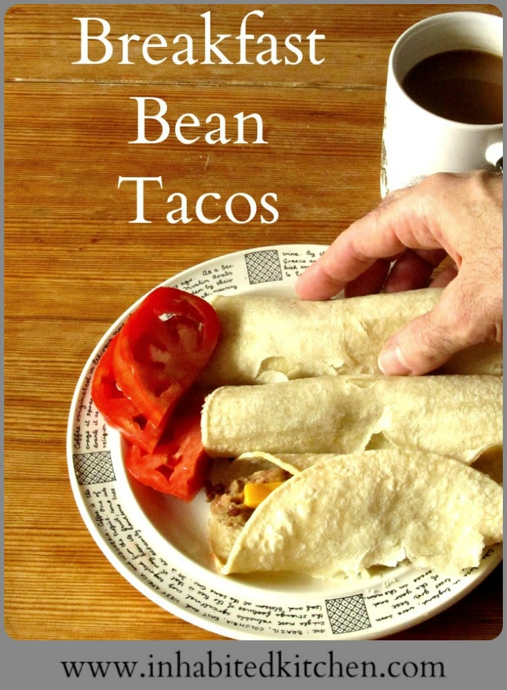 Corn tortillas, seasoned beans, and cheese all come together in Breakfast Bean Tacos, a quick and easy, gluten free breakfast!