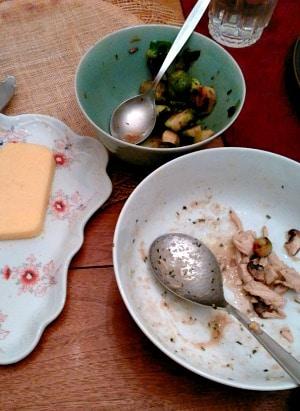 WIAW 185 - nearly empty serving bowls!